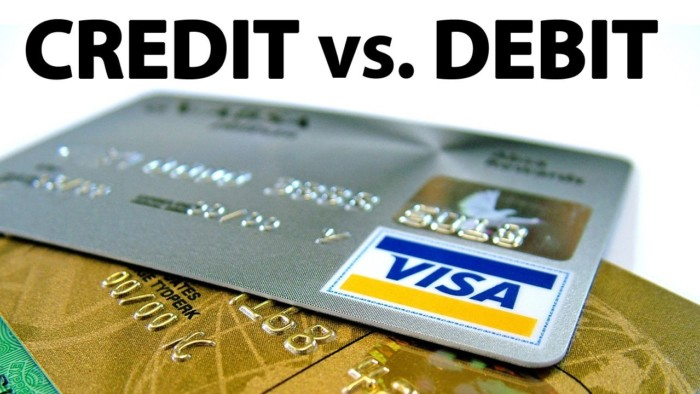 credit cards vs debit cards